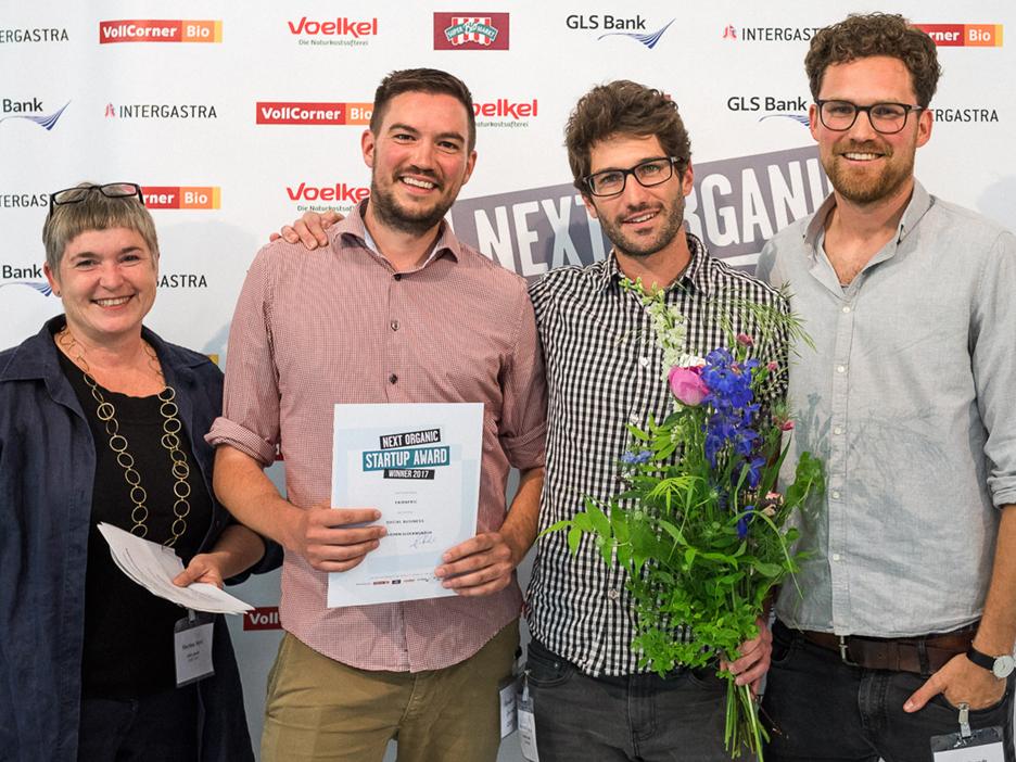 Martina Merz mit Preisträgern, next Organic 2017